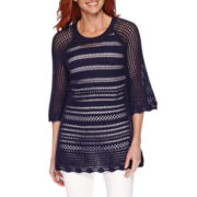Sag Harbor® Blue Shades 3/4-Sleeve Crochet Sweater