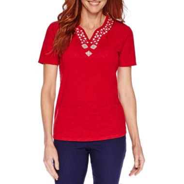 jcpenney.com | Sag Harbor® Blue Shades Short-Sleeve Embroidery Top