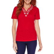 Sag Harbor® Blue Shades Short-Sleeve Embroidery Top