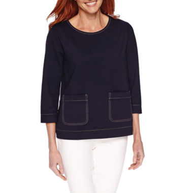 jcpenney.com | Sag Harbor® Blue Shades 3/4-Sleeve Knit 2-Pocket Top