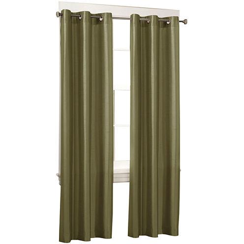 Faux-Silk Grommet-Top Curtain Panel