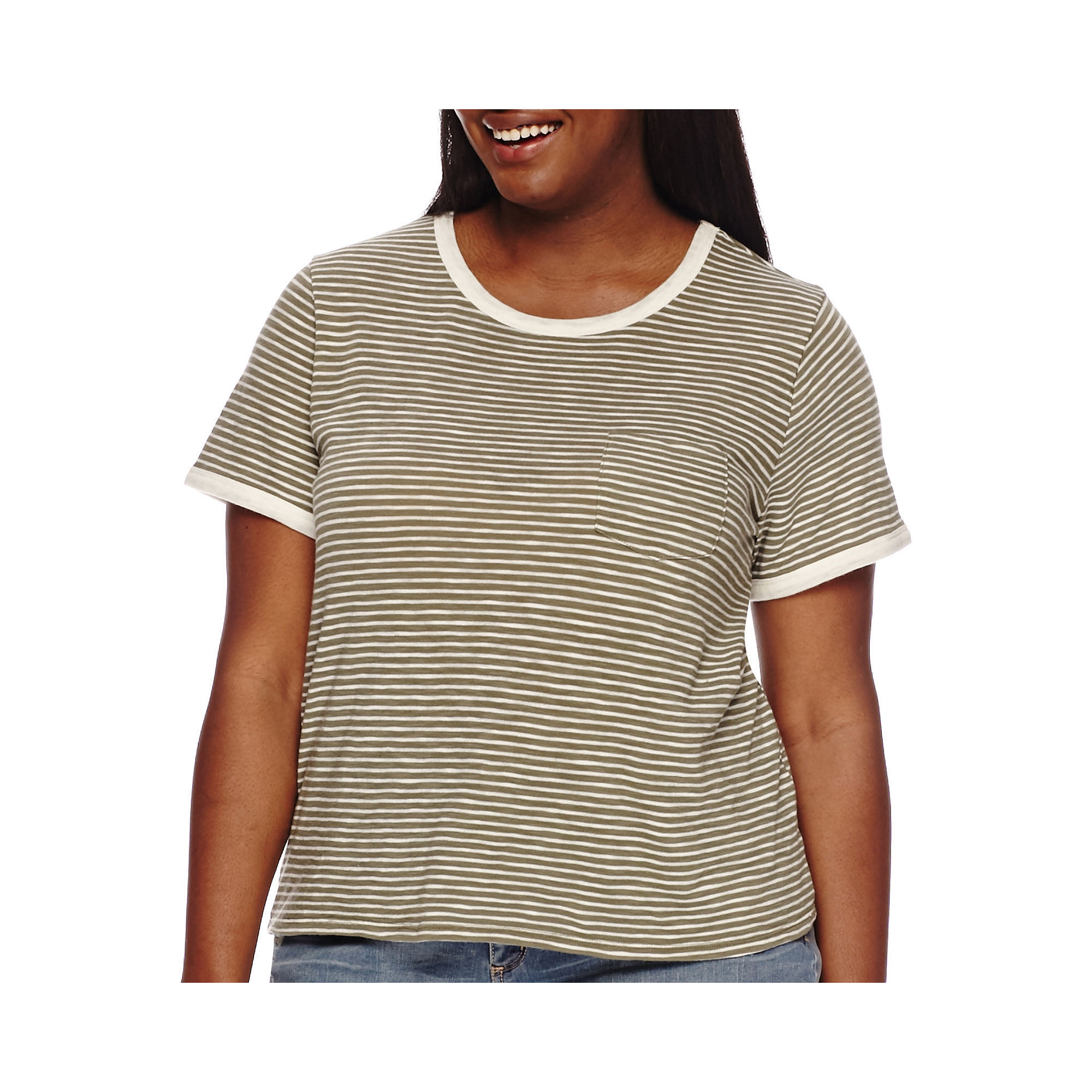Arizona Short-Sleeve Ringer Tee - Juniors Plus plus size,  plus size fashion plus size appare