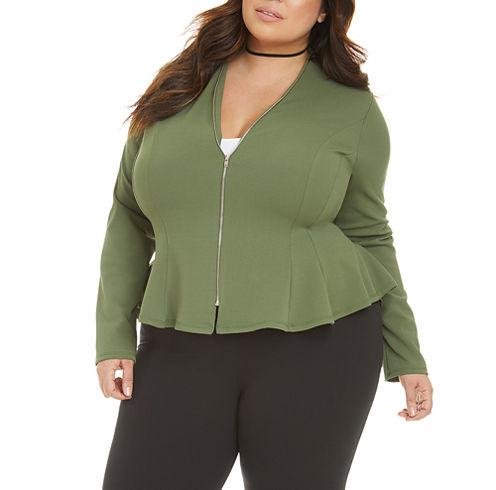 Fashion To Figure Ellie Peplum Zip Up Work Jacket-Plus