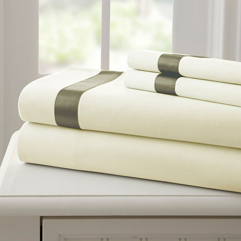 Pacific Coast Textiles 400 Thread Count 3 pc sheetset with satin band
