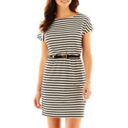 Danny & Nicole® Cap-Sleeve Striped Dress - Petite