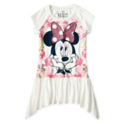 Disney Minnie Mouse Short-Sleeve Peblum Scarf Top - Girls 6-16