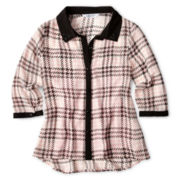 Sally M™ Sally Miller Long-Sleeve Pleated Plaid Shirt - Girls 6-16