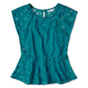 Sally M™ Sally Miller Cap-Sleeve Diamond Lace Peplum Top - Girls 6-16