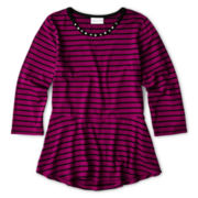 Sally M™ Sally Miller ¾-Sleeve Striped Top - Girls 6-16