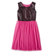 Disorderly Kids® Sleeveless Faux Leather Mesh Dress - Girls 6-16