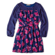 Speechless® Long-Sleeve Mixed Print Dress - Girls 6-16