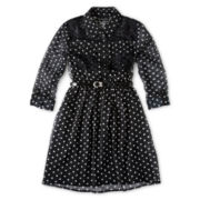 Disorderly Kids® Long-Sleeve Dot Print Dress - Girls 6-16