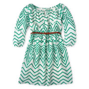 My Michelle Long-Sleeve Belted Peasant Dress - Girls 6-16