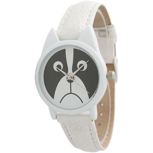 Olivia Pratt Womens White Bezel Puppy Dog Dial White Leather Watch 13152White White