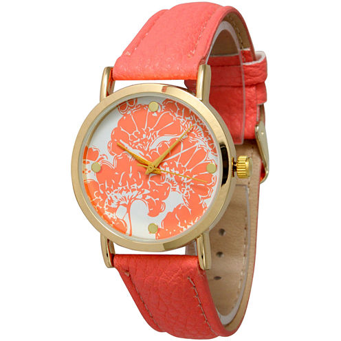 Olivia Pratt Womens Floral Dial Coral Leather Watch 13330Coral