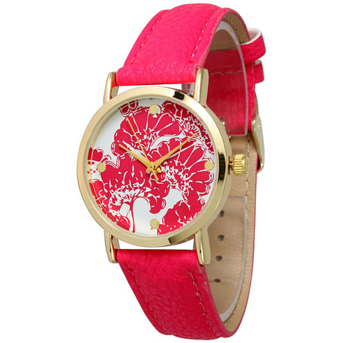 Olivia Pratt Womens Floral Dial Hot Pink Leather Watch 13330Hot Pink