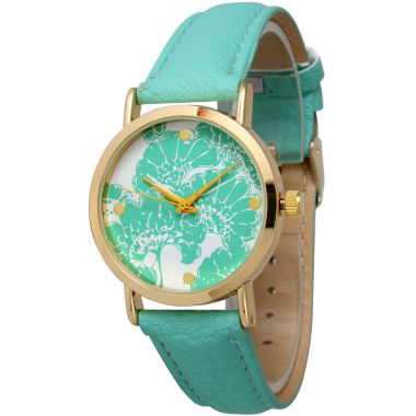 jcpenney.com | Olivia Pratt Womens Floral Dial Mint Leather Watch 13330Mint