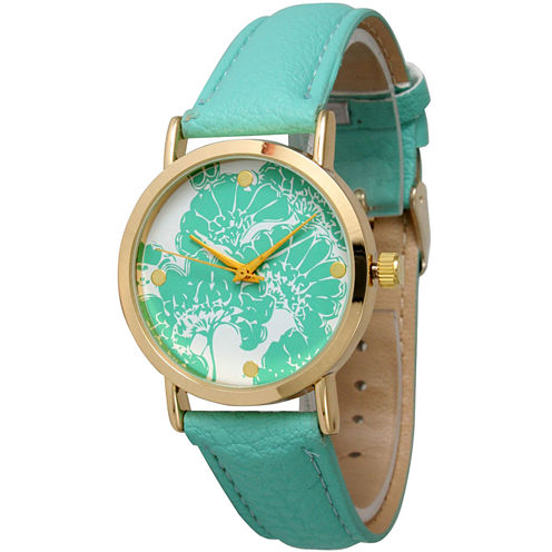 Olivia Pratt Womens Floral Dial Mint Leather Watch 13330Mint