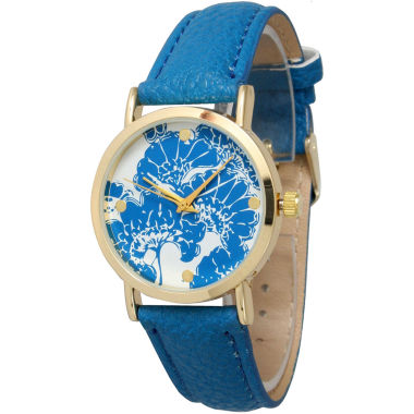 jcpenney.com | Olivia Pratt Womens Floral Dial Royal Leather Watch 13330Royal