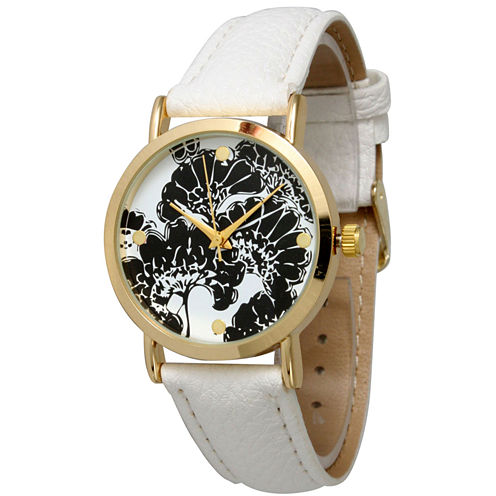 Olivia Pratt Womens Floral Dial White Leather Watch 13330White