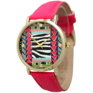 jcpenney.com | Olivia Pratt Womens Multi-Color Pattern With Gold-Tone Studs Dial Hot Pink Leather Watch 13628Hot Pink