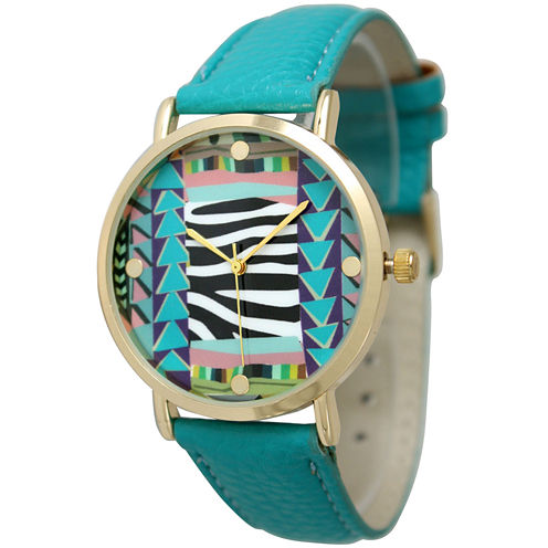 Olivia Pratt Womens Multi-Color Pattern With Gold-Tone Studs Dial Teal Leather Watch 13628Teal