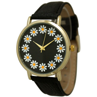 jcpenney.com | Olivia Pratt Womens Sunflower Dial Black Leather Watch 13670Black