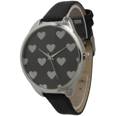jcpenney.com | Olivia Pratt Womens Hearts Dial Black Leather Watch 13942Black