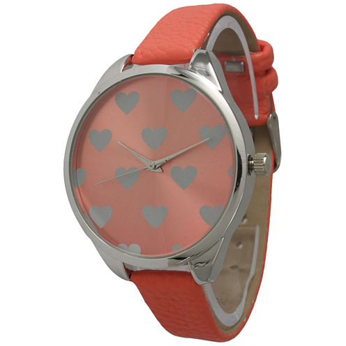 Olivia Pratt Womens Hearts Dial Coral Leather Watch 13942Coral