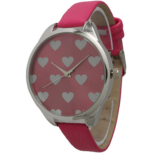 Olivia Pratt Womens Hearts Dial Hot Pink Leather Watch 13942Hot Pink