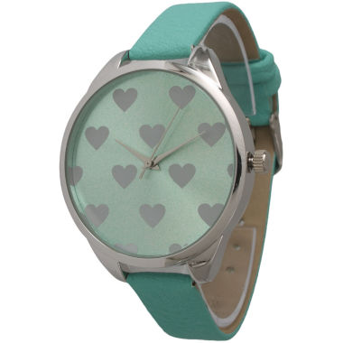 jcpenney.com | Olivia Pratt Womens Hearts Dial Mint Leather Watch 13942Mint