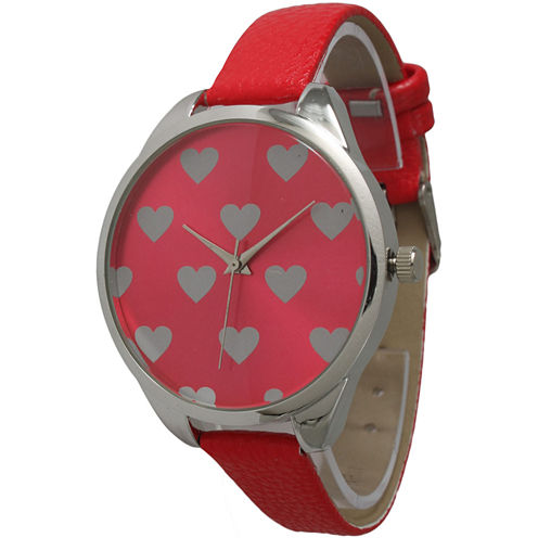 Olivia Pratt Womens Hearts Dial Red Leather Watch 13942Red