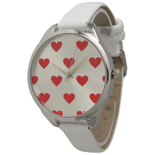 Olivia Pratt Womens Hearts Dial White Leather Watch 13942White