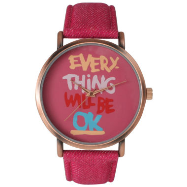jcpenney.com | Olivia Pratt Womens Everything Will Be Ok Dial Hot Pink Leather Watch 14503Hot Pink
