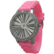 Olivia Pratt Womens Rhinestone Bezel Roman Numeral Dial Bubble Pink Silicon Watch 20369Bubble Pink