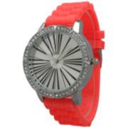 Olivia Pratt Womens Rhinestone Bezel Roman Numeral Dial Coral Silicon Watch 20369Coral