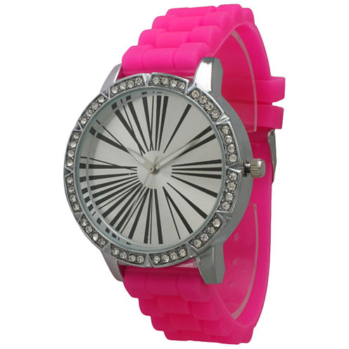 Olivia Pratt Womens Rhinestone Bezel Roman Numeral Dial Hot Pink Silicon Watch 20369Hot Pink