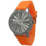 Olivia Pratt Womens Rhinestone Bezel Roman Numeral Dial Orange Silicon Watch 20369Orange