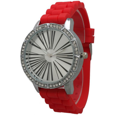 jcpenney.com | Olivia Pratt Womens Rhinestone Bezel Roman Numeral Dial Red Silicon Watch 20369Red