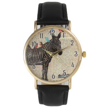 jcpenney.com | Olivia Pratt Womens Zebra And Birds Black Leather Watch 20399Black