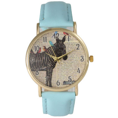 jcpenney.com | Olivia Pratt Womens Zebra And Birds Light Blue Leather Watch 20399Light Blue