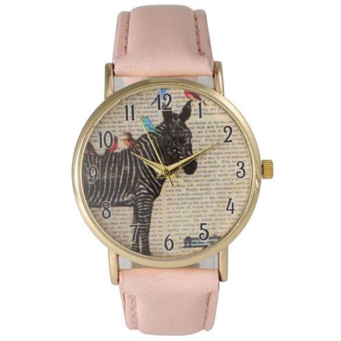 Olivia Pratt Womens Zebra And Birds Light Pink Leather Watch 20399Light Pink