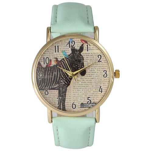 Olivia Pratt Womens Zebra And Birds Mint Leather Watch 20399Mint