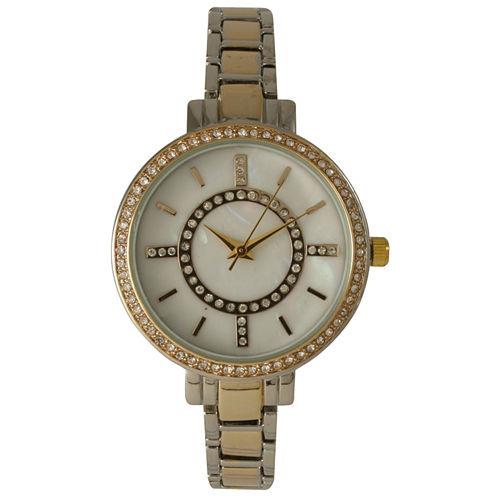 Olivia Pratt Womens Rhinestone Bezel Faux Mother Of Pearl Rhinestone Dial Gold And Silver Two Tone Bracelet Strap Watch 14403Gold And Silver Two Tone