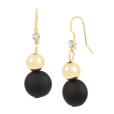 jcpenney.com | Bleu™ Black and Gold Double Drop Earrings