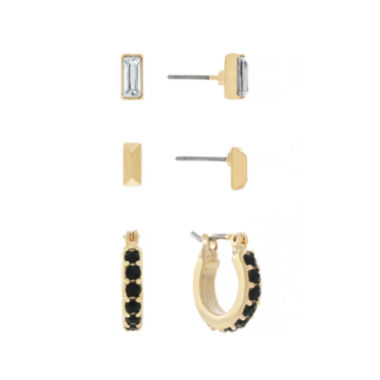 jcpenney.com | nicole by Nicole Miller® 3-pr. Gold-Tone Earrings Set
