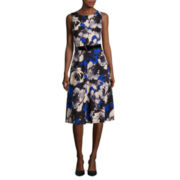 Perceptions Sleeveless Floral Belted Fit-and-Flare Dress