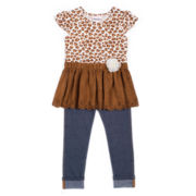 Little Lass® 2-pc. Faux-Suede Cheetah Top and Pants Set - Toddler Girls 2t-4t