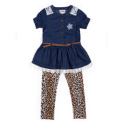 Little Lass® 2-pc. Denim Leopard Set - Toddler Girls 2t-4t