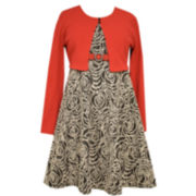 Bonnie Jean® Jacquard Belted A-Line Dress with Cardigan - Girls Plus